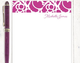personalized notePAD - STENCIL BORDER - womens stationery - stationary - gift for her - letter writing paper - choose color