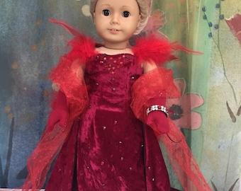 American Girl Scarlet O'Hara Gone with the Wind Red Velvet 'Harlot' Dress Replica