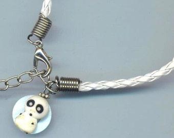 Phantom Bracelet, Women's Leather Bracelet, Thin Braided Bracelet for Women, White Phantom, Girlfriend Gift, Leather Jewelry, Gift for Her