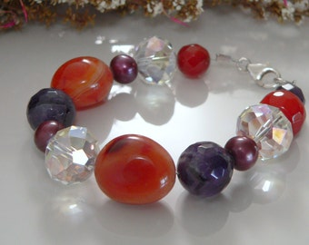 Carnelian, Amethyst,Crystals and Freshwater Pearls with Sterling Silver.