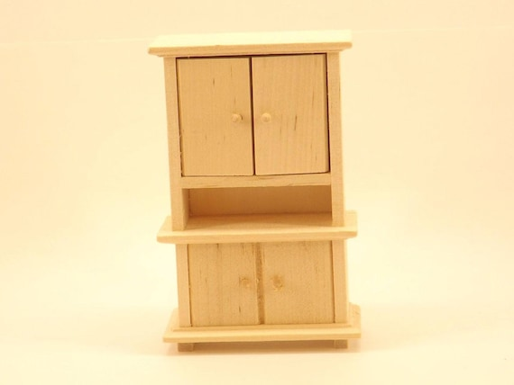 Unfinished Wood Pine Cabinet W/ Opening Doors Dollhouse
