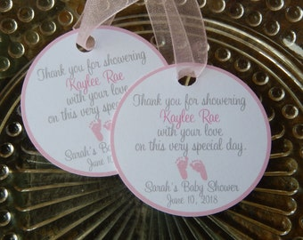 """40 - Baby Shower custom 2"""" Thank You Favor Tags - for your Mini Wine or Champagne Bottles - Mason Jar or Cookie Gifts"""