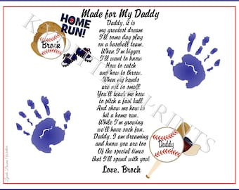 DADDY Teach Me BASEBALL Poem Personalized 8x10 Print Baby / Child Handprints Hand Print Birthday Christmas Gift New Daddy Father's Day
