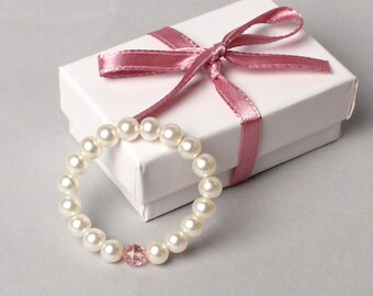 Handmade Birthstone Pearl Baby Bracelet - Newborn - Sitter - Toddler -Photo Prop-Baby Shower Gift-