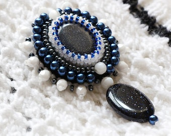 FREE SHIPPING statement gemstone brooch, bead embroidery pin brooch, blue chunky beaded brooch, big seed beads brooch, stone brooch jewelry