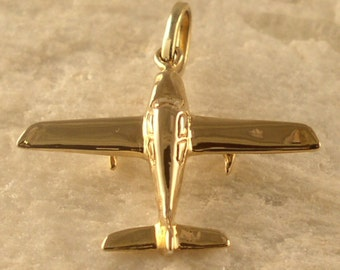 14kt or Silver Lancair Airplane Pendant