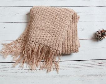 Alpaca wool scarf, beige woman scarf, knitted scarf, fringe scarf, tassel scarf, winter scarf, hand knit scarf, gift for her, handmade scarf