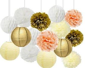 Cream Peach Gold White Tissue Paper Pom Poms Paper Flowers Paper Lanterns Tissue Paper Honeycomb Balls Birthday Party Decorations