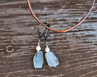 Crystal Earrings, Raw Aquamarine Earrings, Handmade Earrings, Aquamarine Earrings, Raw Crystal Earrings, Gift For Her, Blue earring