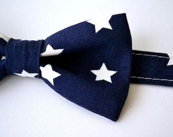 Bowtie- Navy Blue with White Stars
