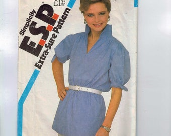 1980s Vintage Sewing Pattern Simplicity 5505 Misses Easy ESP Pullover Blouse Tunic with Puff Sleeves Size 8 10 12 Bust 31 1/2 32 1/2 3  99