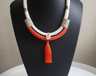 Cowrie necklace - ethnic necklace - rope necklace - ethnic jewelry - jewelry for women - african necklace - tribal necklace - gift women