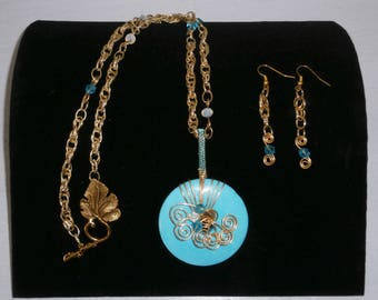 Wrapped Turquoise Swirled Necklace