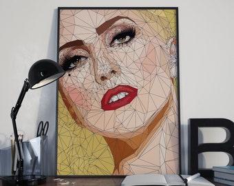 Lady Gaga Poster, Gaga Canvas Poster, Lady Gaga Art, Lady Gaga Print, Home Decor, Wall Decor, Lady Gaga Gift, Pop Art, Joanne, Artwork