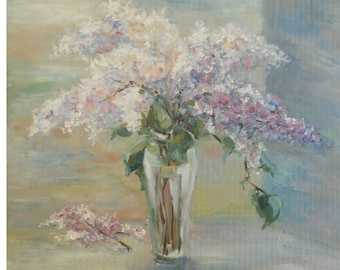Bouquet of Lilac flower in glass vase Still Life Original Oil Painting Modern Art Wall decoration Kitchen Interior Gift for Mother Birthday