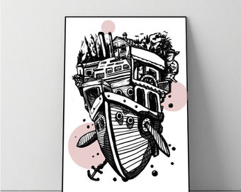 Digital print black-rose flying ship + + + Digital Print black-pink flying ship