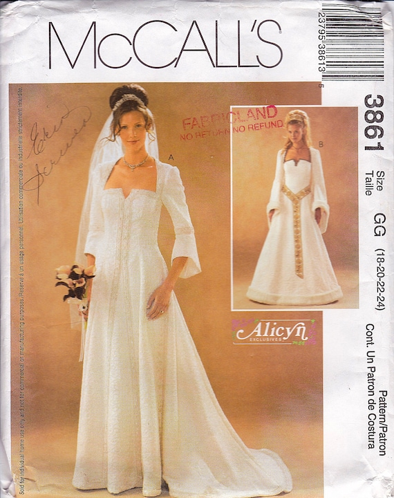 Renaissance Wedding Gown, Medieval Wedding Gown, Bell Sleeves ...