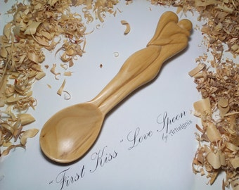 "Love Spoon ""First Kiss"" Handcarved in Linden wood, Wood sculpture, Wooden spoon, Decorative, Valentine's Day, Wedding gift - MADE TO ORDER"