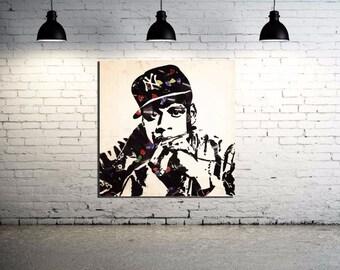 Jay-Z Mr. Brainwash Canvas Print 24 x 24 Old School Hip Hop Grafitti Street Art