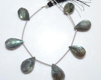 "Natural Labradorite Tear Drop Briolette - Labradorite Faceted Beads , Labradorite Briolette , 12x16 - 18x21 mm , 6"" - BL1402"