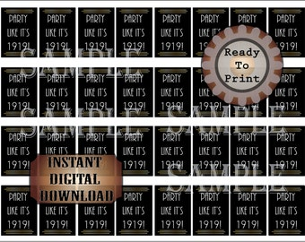 "32 ""Party Like It's 1919!"" Mini Booze Bottle Labels Printable Bootleg Prohibition Speakeasy Gatsby Bachelor Party Roaring 20s Wedding Decor"