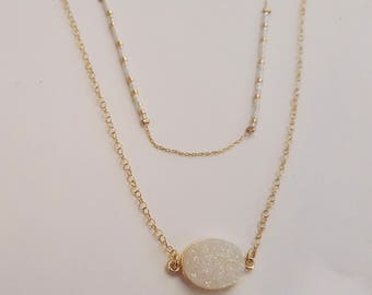 Delicate Layered Druzy Necklace