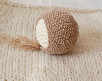 Ready to Ship Newborn Bonnet | Knit Newborn Bonnet | Newborn Photography Prop | Tan Baby Bonnet