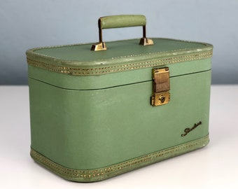 Vintage Mint Green Starline Train Case, Vintage Luggage by Baltimore Luggage Company, Makeup Case