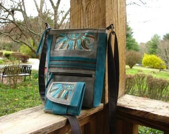 Vegan Tote and wallet Set,  Mosaic Shoulder Bag, Ultra Suede Bag, Ultra Suede Wallet, Eco-Friendly Shoulder Bag,  Handbag