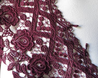 Burgundy Venise Lace Trim in Burgundy for Couture, Costumes CL 6053burg