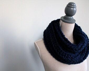 Navy winter scarf, Blue infinity scarf, Great big scarf, Chunky scarf, Ladies wool scarf, Navy blue scarf, Knit scarf, crochet scarf