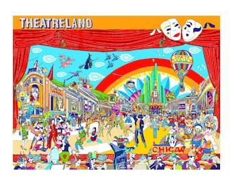 Theatre west end illustration print artwork gift, A4, A3 or A2 Signed QueenKwak 'City Celebration' original Theatreland art, picture poster.