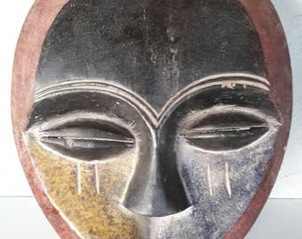 """African wooden tribal KWESE mask, Congo  - Africa - Height 34 cm / 13.5"""" - heart shaped"""