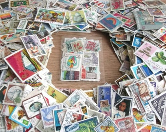 World postage stamps packet | used postal stamps, random mixed modern + vintage for crafting, collage, upcycling, decoupage, collecting