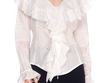 Anne Fontaine Victorian Ruffled Cotton Blouse Size: M