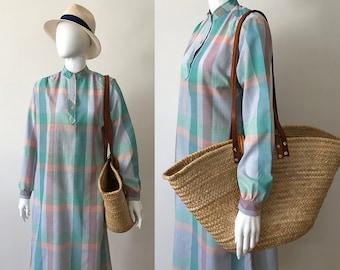 Vintage maxi dress / princess Diana dress / mandarin collar dress / 80s summer dress / vintage maxi dress / vintage beach dress / made in US