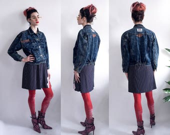 80's Structured Acid Wash Denim Jacket with  Leather Details - Jeantonic Jeans