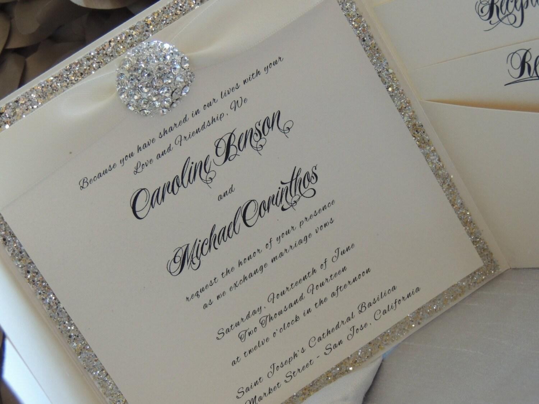 Glitter Brooch Pocket Wedding Invitation