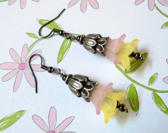 Pink and Yellow Flower Earrings (2851)