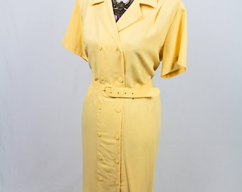 Vintage Double Breasted Yellow Shirt Dress Size M/L
