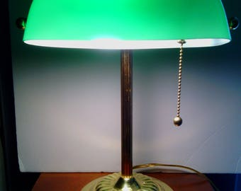 Vintage Green Glass Shade Bankers Desk Lamp From The 1980u0027s