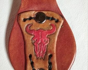 Buffalo Skull Leather Key Chain