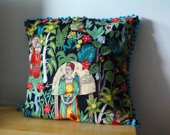 Frida Kahlo cushion cover with Pom Poms. Teal pom poms. Frida Kahlo. Handmade gift