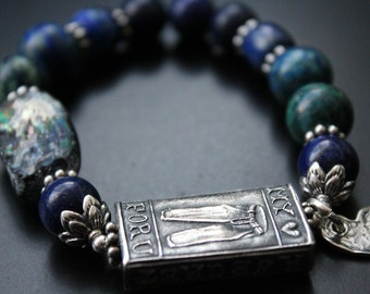 Anne Choi bead bracelet, romantic Valentine's Day gift bead bracelet, lapis and chrysocolla bracelet, stretch boho OOAK heart charm bracelet
