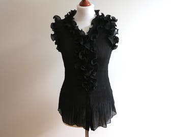 Black Ruffled Blouse Sleeve Less Blouse Crinkled Blouse Stretchy Womens Top Large Size