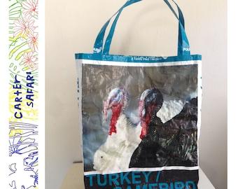 Reusable Market Totes - Turkey Tote Bag - Reusable Upcycled Plastic Shopping Tote Bag by CarterSafari