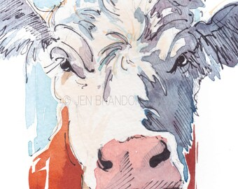 Note Cards - Set of 10 Greeting Cards - Artisan Cards -Cow, Animals, Stocking Stuffers, Christmas, Gifts, Art, Homemade, Farm