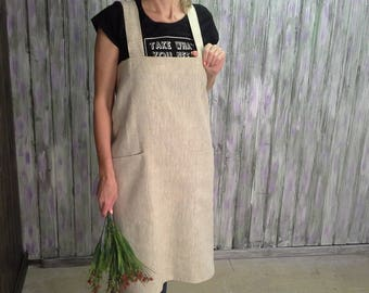 Linen Japanese apron with pocket Cross back grey womens long aprons full pinafore restaurant kitchen Cooking apron grey