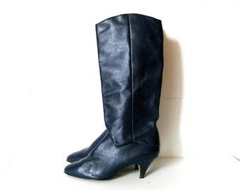 Navy Leather Boots, Calf Pirate Boots, Kitten Heel, 7
