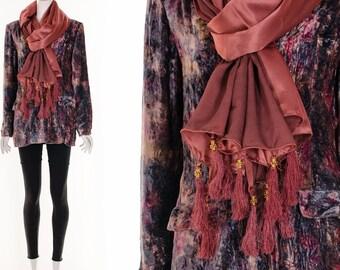Rosewood Pink Silk Festival Scarf Ethnic Silk Throw with Tassels and Beaded Embellishments Silk Shawl Halter Dress Wrap Skirt Versatile